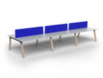 Grove 6 Users Double - Sided Desk with Radius Screens