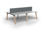 Grove 4 Users Double - Sided Desk with Radius Screens