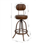 Jackie Industrial Wind Up Leather Stool
