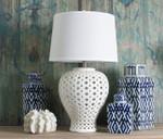 Lattice Ceramic Tall Antique White Table Lamp