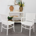 Coastal Armed Rattan Dining Chair White