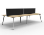 Fluid 4 Person Double Sided Workstation With Screen
