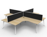Fluid 4 Person Corner Workstation Pod With Screens