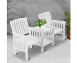 Cawdor Wooden White Bench Chair Table