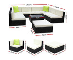 Glossodia 10PC Sofa Garden Patio Lounge