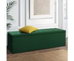 Kalinga Storage Ottoman Box Foot Stool - Velvet-Green