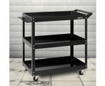 Geebung Black Tool Cart 3 Tier Parts Steel Trolley