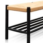 Horton 110cm Black Oak Bench - Natural Seat