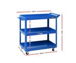 Geebung Tool Cart 3 Tier Parts Steel Trolley - Blue