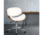 Artiss Wooden & White PU Leather Office Desk Chair