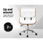 Artiss Wooden Frame White PU Leather Office Desk Chair