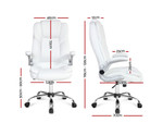 Artiss White PU Leather Executive Office Desk Chair