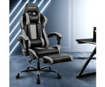 Computer Seating Racer Black & Grey PU Leather Office Chair