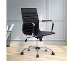Eames Black PU Leather Replica Office Chair - Mid Back