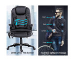 8 Point Black PU Leather Executive Reclining Massage Chair