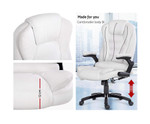 8 Point White PU Leather Executive Reclining Massage Chair