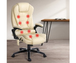 8 Point Beige PU Leather Executive Reclining Massage Chair