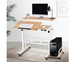 Mobile Light Wood Twin Laptop Desk