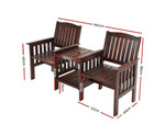Balgowlah Charcoal Wooden Bench Chair Table