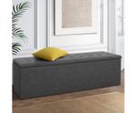 Kalinga Ottoman Box Foot Stool - Faux Linen Fabric-Dark Grey