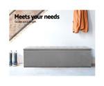 Kalinga Storage Ottoman Box Stool - Faux Linen Fabric-Grey