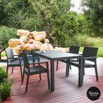 5 Piece Resin Rattan Outdoor Dining Setting