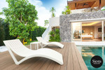 3 Piece Package Slim Sun Lounger and Ocean Side Table