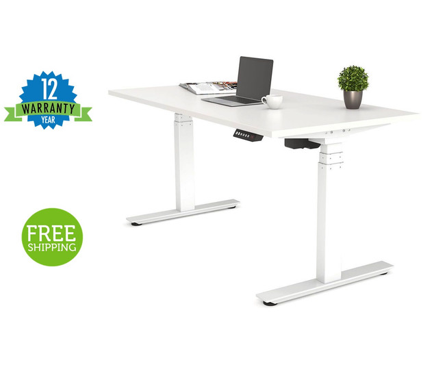Nimble Sit/Stand Height Adjustable Desk Automatic / Electric - White Frame