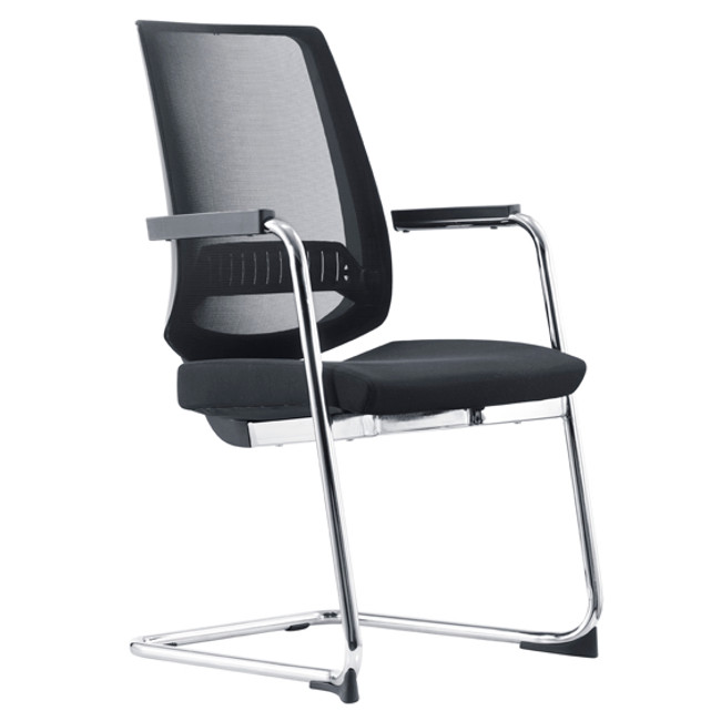 Evita Cantilever Fabric Back Modern Executive Visitor Chair - Black