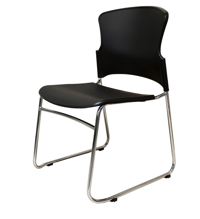 Zing Heavy Duty PVC Sled Base Visitor/Lunchroom Chair - Black