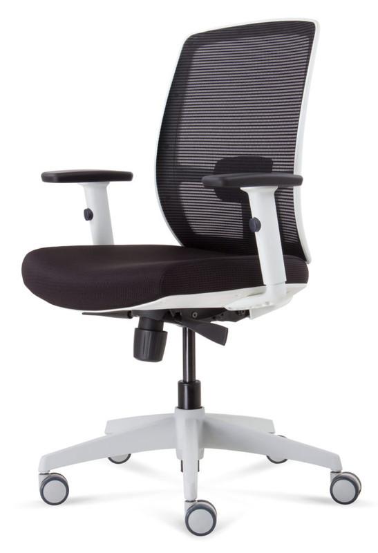 Luminous Task Varsity White Frame Chair - Black