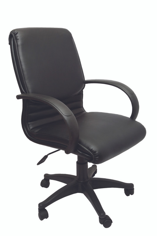 CL610 Medium Back Buget Executive Chair- Black PU Leather