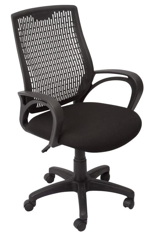 Medium Back Budget Operator Chair-Black PVC