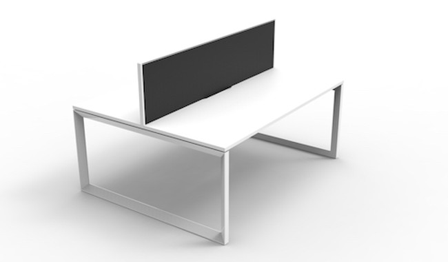 Quick Myraid 2 Person Double Sided Workstation - Loop Leg - With Privacy Screen