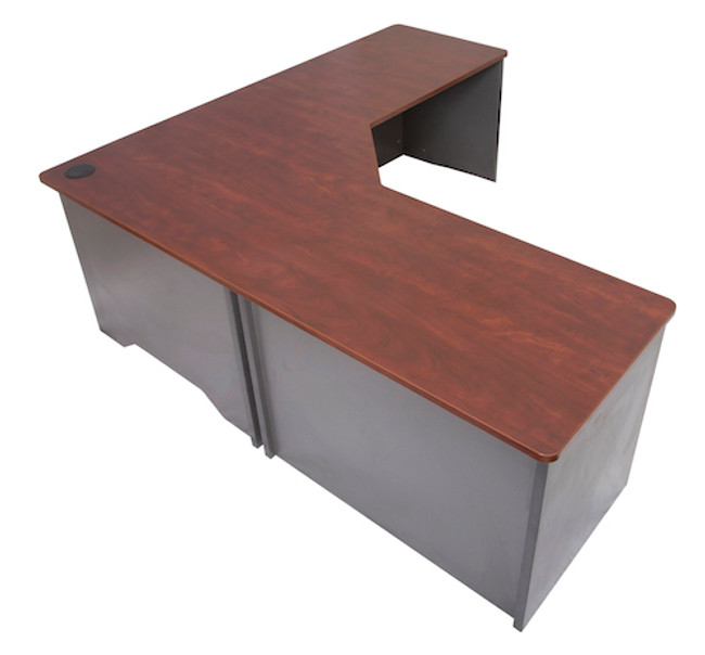 Block Single Desk with Return - Appletree/Ironstone