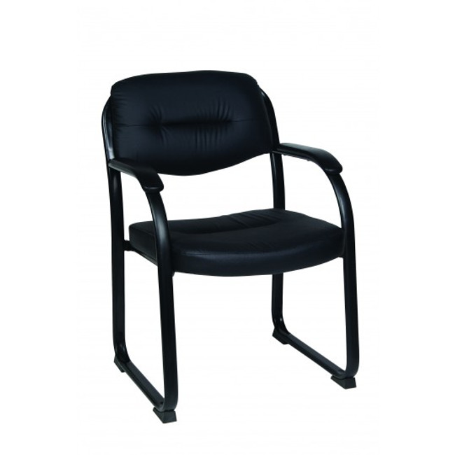 Freeman Bonded Leather Visitor Chair with Arm Pads - Black