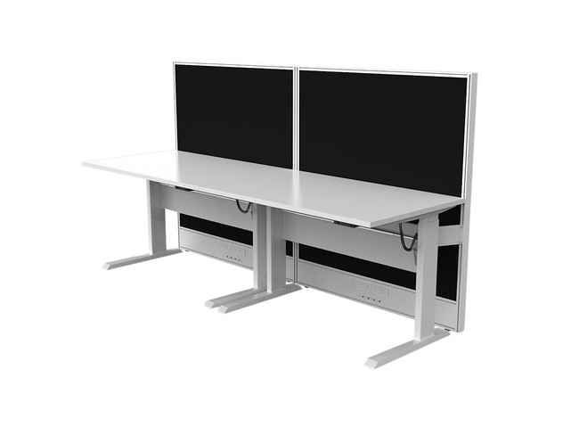 Axle Electric Height Adjustable 2 Person Office Workstation Desk - Single sided run with Screen