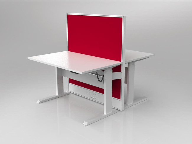 Axle 2 Person Electric Height Adjustable Desk Workstation with Screen - Double Sided