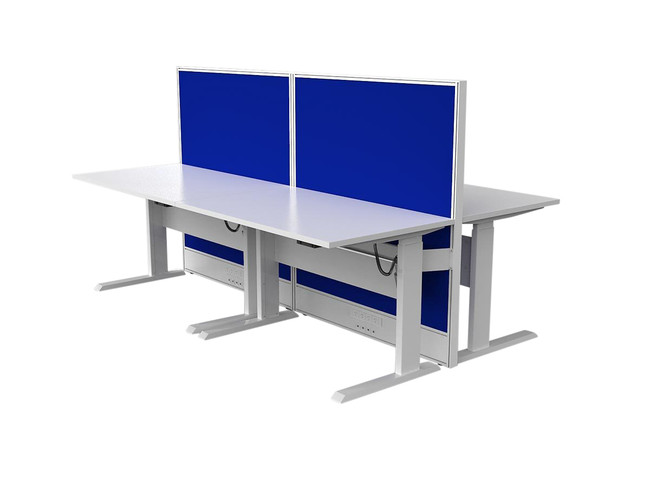 Axle 4 Person Electric Height Adjustable Workstation Desk with Screen - Double sided