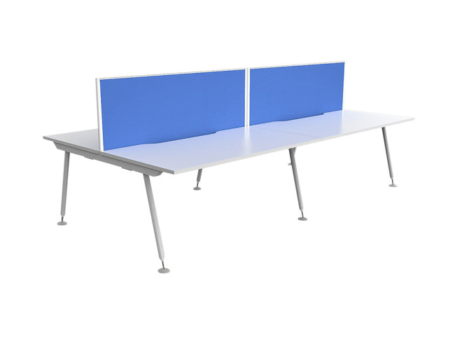 Cosmo 4 Person Office Workstations - Fabric Screens - Double Sided Desks