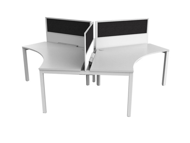Axle 3 Person Office Workstations - 120 degree Desks with Screens