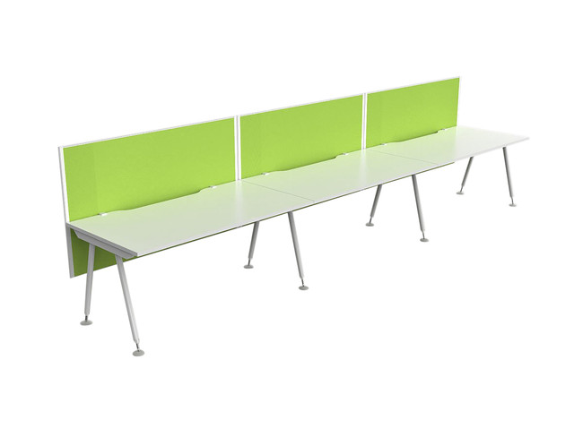 Cosmo 3 Person Workstation - Fabric Screens - Single Sided Desks