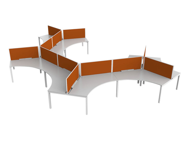 Axle Office Workstations for 12 People - 120 degree Desks