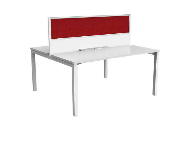 Axle 2 Person Office Workstations with Fabric Screen  - Double Sided Desks