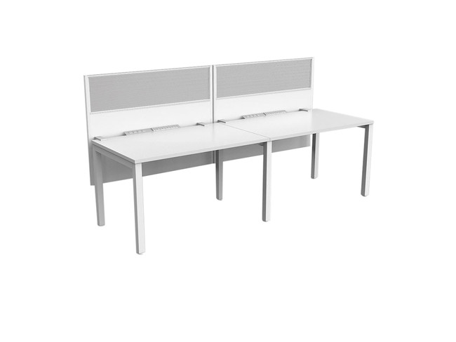 Axle 2 Person Office Desk Workstations - Single sided run