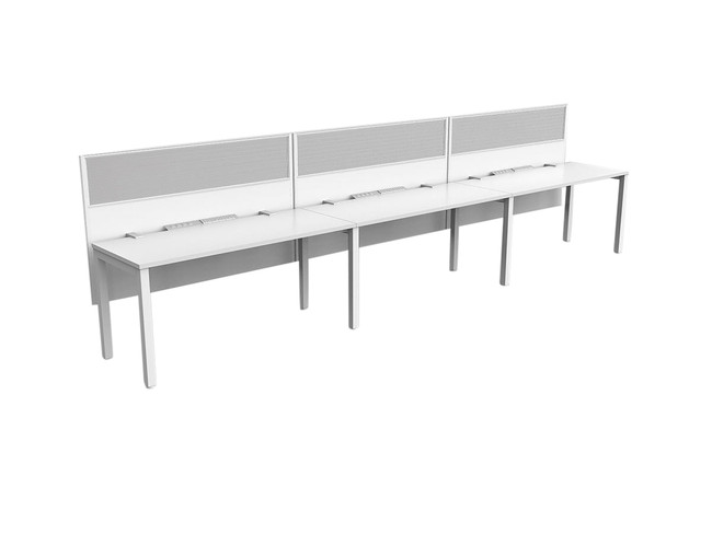 Axle 3 Person Office Workstations Single sided desk runs
