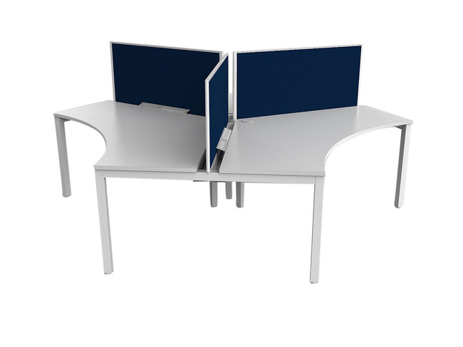 Axle 3 Person Office Workstation - 120 degree Desks
