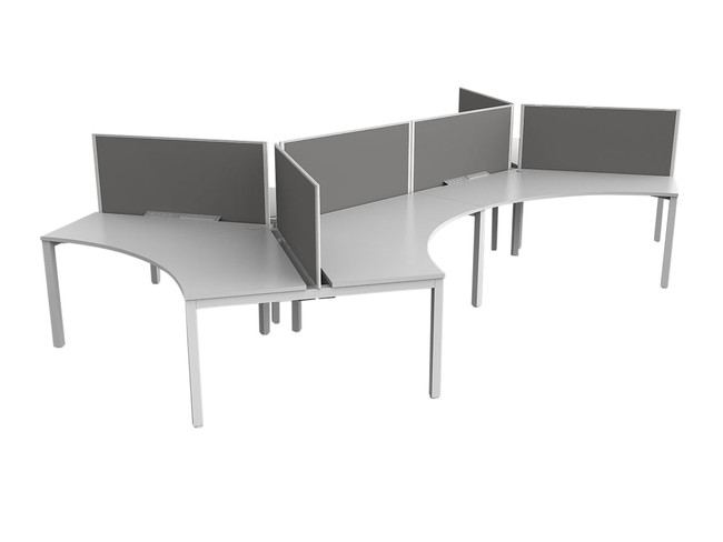 Axle 6 Person Office Workstations - 120 degree Desks