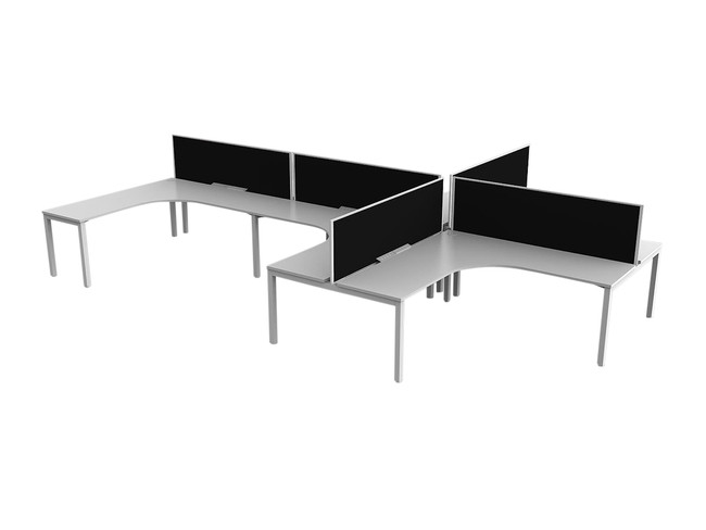 Axle 6 Person Office Workstations - 90 degree Desks