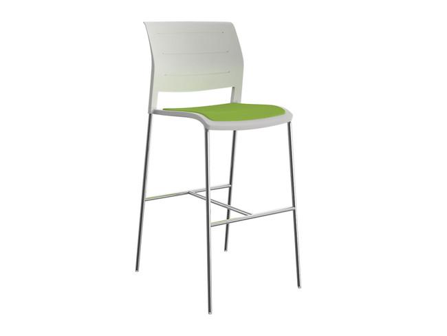 Bold Upholstered Barstool - Stackable - Chrome Frame